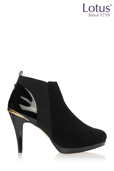Lotus Black Heeled Ankle Boots