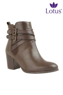 Lotus Brown Leather Buckle Boots