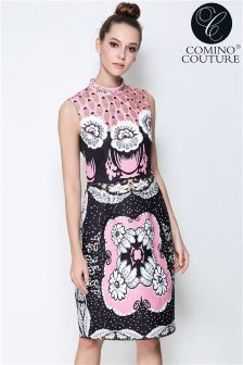 Comino Couture Stand Collar Midi Dress