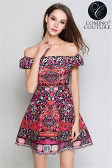 Comino Couture Folk Print Bardot Dress