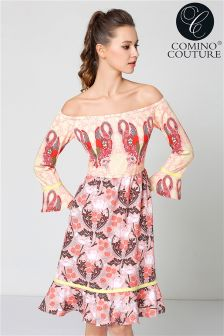Comino Couture Flamingo Bardot Dress