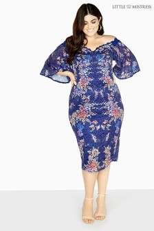 Little Mistress Curve Floral Bodycon Dress