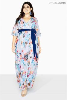 Little Mistress Curve Blur Print Wrap Dress
