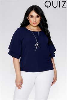 Quiz Curve Double Sleeve Necklace Top