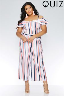 Quiz Curve Stripe Cold Shoulder Frill Tie Belt Jumpsuit