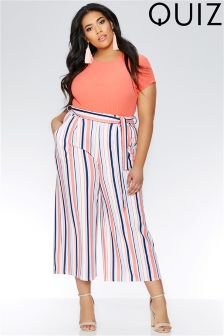 Quiz Curve Stripe Tie Belt Trousers
