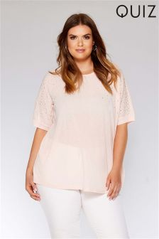 Quiz Curve Pearl Embellished Top