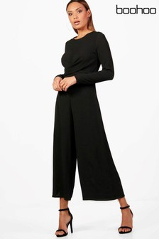 Boohoo Nicole Wrap Front Woven Jumpsuit