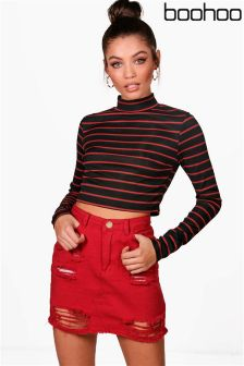 Boohoo Stripe Turtle Neck Crop Top