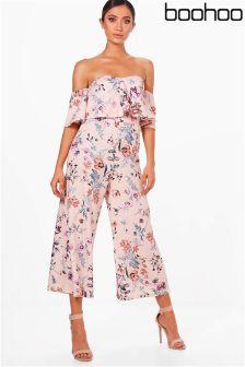 Boohoo Floral Print Bardot Culotte Jumpsuit