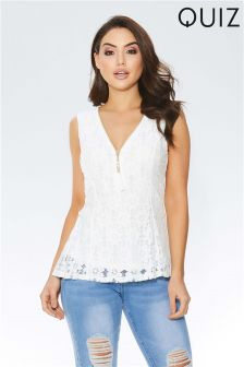 Quiz Lace Zip Front Tassle Top