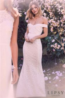 Lipsy Petite Lace Bardot Bridal Maxi Dress