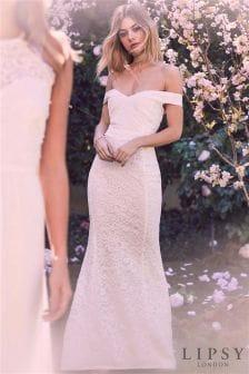 fc088857464 Lipsy Petite Lace Bardot Bridal Maxi Dress