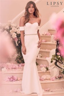 Lipsy Bridal Petite Diamanté Bardot Maxi Dress