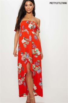PrettyLittleThing Floral Print Bardot Maxi Dress