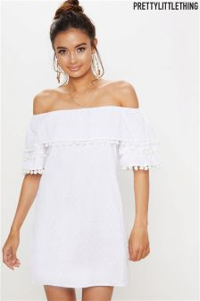 PrettyLittleThing Pom Pom Bardot Shift Dress
