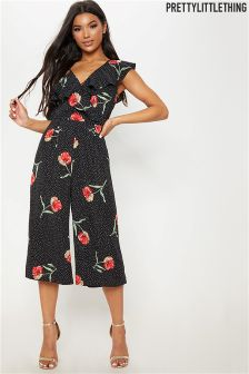 PrettyLittleThing Floral Print Culotte Jumpsuit
