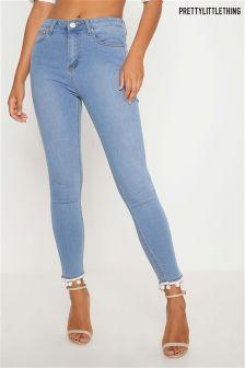PrettyLittleThing Pom Pom Trim Jeans