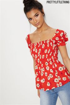 PrettyLittleThing Puff Sleeve Floral Top