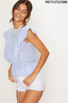 PrettyLittleThing Striped Ruffle Top
