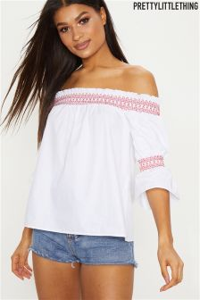 PrettyLittleThing Bardot Embroidered Top