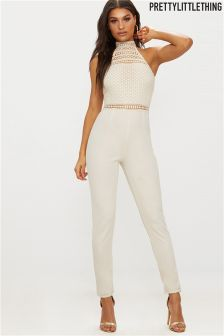 PrettyLittleThing Lace High Neck Jumpsuit