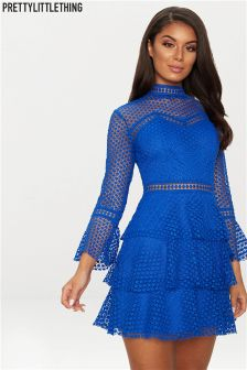 PrettyLittleThing Lace Flare Mini Dress
