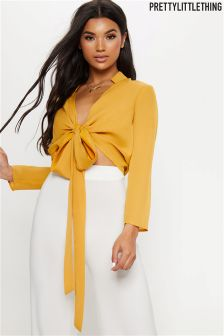 PrettyLittleThing Tie Front Blouse
