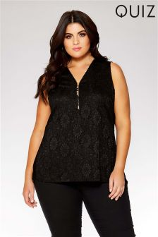 Quiz Curve Lace Zip Tassel Top