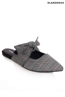 Glamorous Check Bow Detail Slip On Shoes