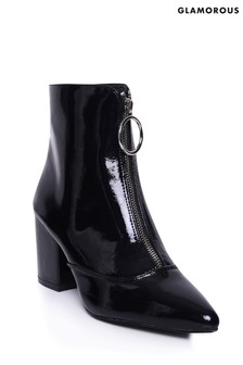 Glamorous Patent Chunky Ankle Boots