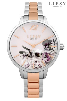 Lipsy Two Tone Floral Bracelet Watch