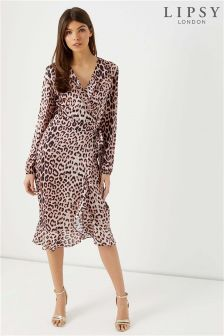 Lipsy Lulu Leopard Print Satin Wrap Midi Dress