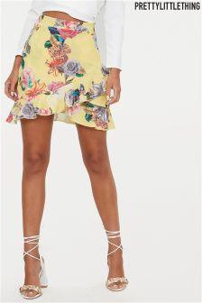 PrettyLittleThing Floral Print Frill Mini Skirt