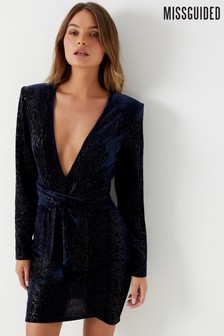 Missguided Velvet Snake Skin Twisted Belt Mini Dress