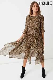 Missguided Animal Print Asymmetric Dress