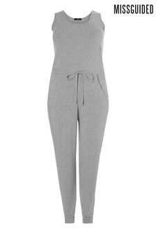 Missguided Curve Sleeveless Tie Waist Jumpsuit