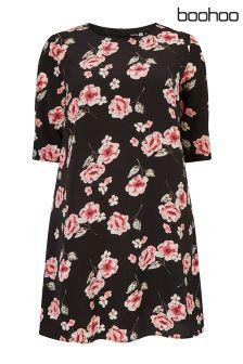 Boohoo Plus Floral Print Shift Dress