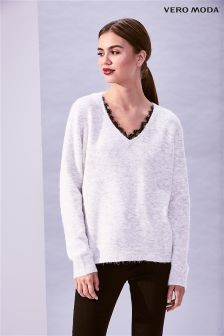 Vero Moda Long Sleeve V neck Lace Jumper