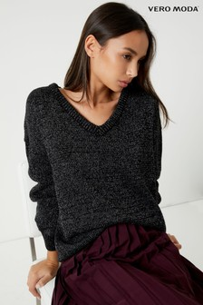 Vero Moda Lurex Long Sleeve V neck Jumper