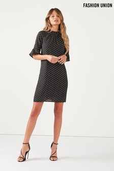 Fashion Union Polka Dot Frill Sleeve Shift Dress