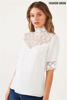 Fashion Union Lace Insert High Neck Top