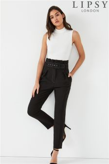 Lipsy Contrast Stitch Belted Trousers