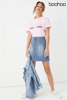 Boohoo Denim Button Front Mini Skirt