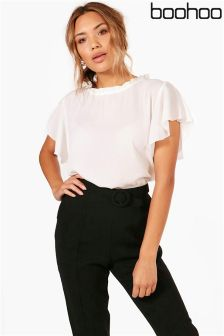 Boohoo Frill Neck Ruffle Sleeve Top