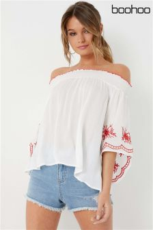 Boohoo Embroidered Sleeve Bardot Top