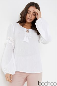 Boohoo Lace Up Fringe Tassel Top