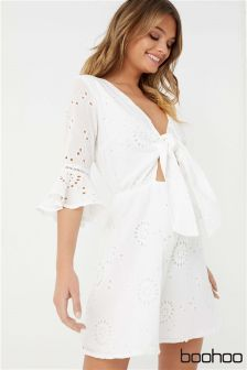 Boohoo Broderie Anglaise Tie Front Skater Dress