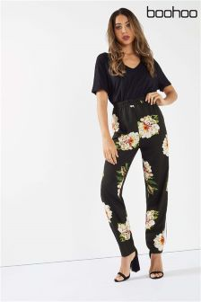 Boohoo Floral Print Side Stripe Trousers