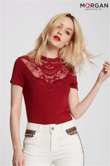 Morgan High Neck Lace Insert T-Shirt